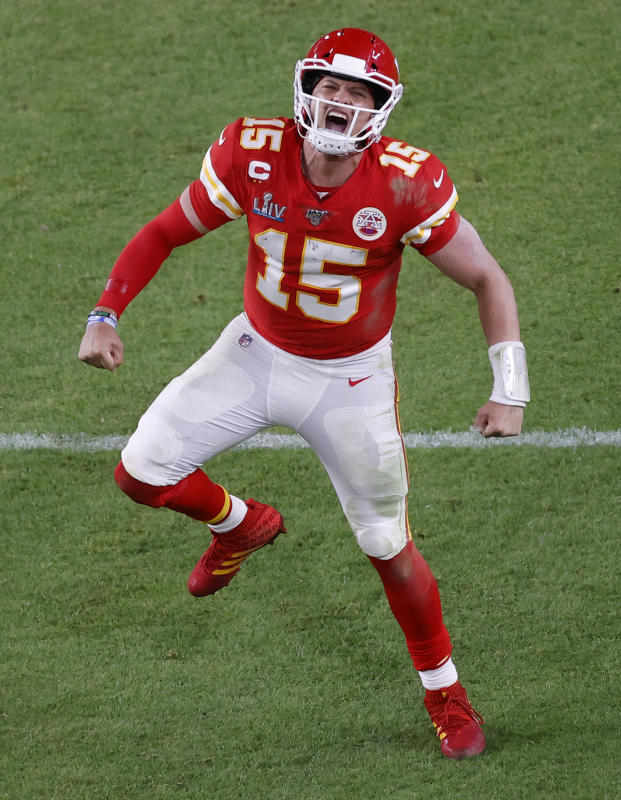 Kansas City Chiefs quarterback Patrick Mahomes celebrates after the go-ahead touchdown against the San Francisco 49ers in the fourth quarter of the National Football League's Super Bowl LIV at Hard Rock Stadium in Miami Gardens, Florida, USA, 02 February 2020.